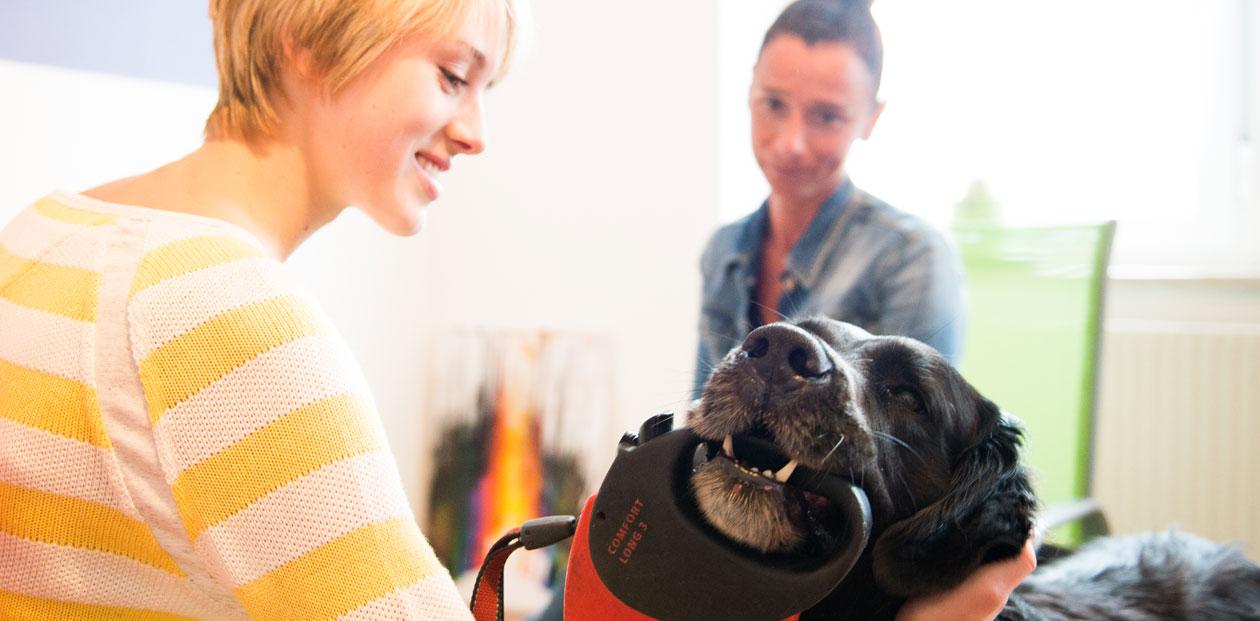 Unser Therapiehund Caramello begrüßt die Klientin